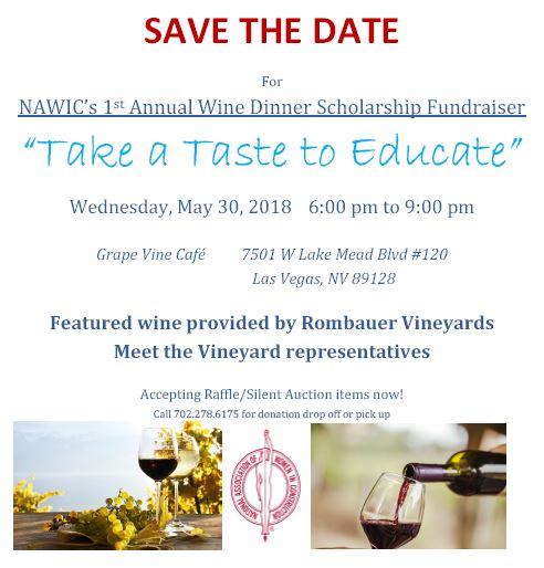 Wine Dinner Scholarship Fundraiser - Save the Date! @ Grape Vine | Las Vegas | Nevada | United States